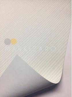 Рулонная штора Блэкаут  в полоску белая